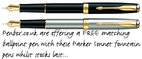 Parker Sonnet fountain pens with free ballpoint.