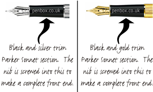 Black Parker Sonnet nib sections for Parker Sonnet pen nibs.