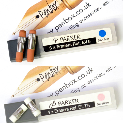Parker pencil erasers and rubbers, E16, Duofold, EV5, ELT5, EMF4, EA5.