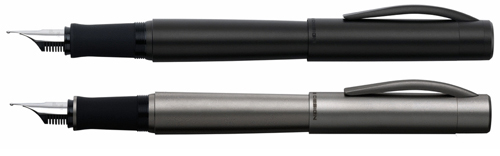 P'3105 Porsche Design Pure fountain pens in black and limited edition titanium.