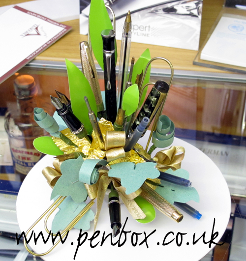 Pen flower arrangement with a difference in the Epworth shop.