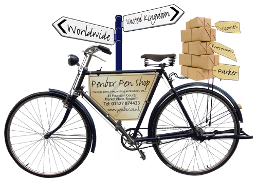 Penbox deliver worldwide by bike, courier and Royal Mail.