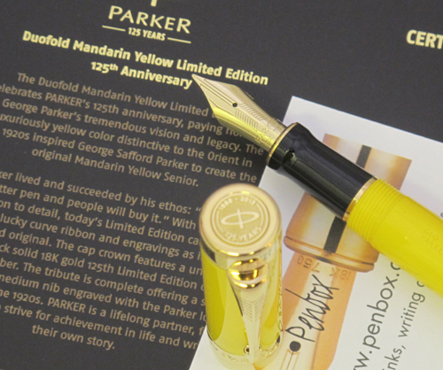 125th Anniversary Mandarin Yellow Parker Duofold Fountain Pen.