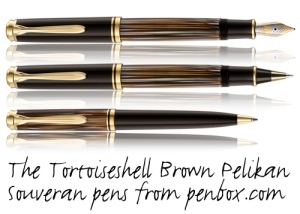 Special Edition Tortoiseshell Brown Pelikan Souveran Pens.
