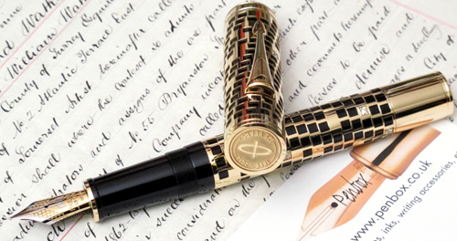 Limited Parker Duofold in Gold with Diamonds.