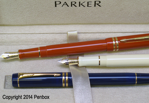 Red, Ivory and Blue Duofold Pen finishes from Parker.
