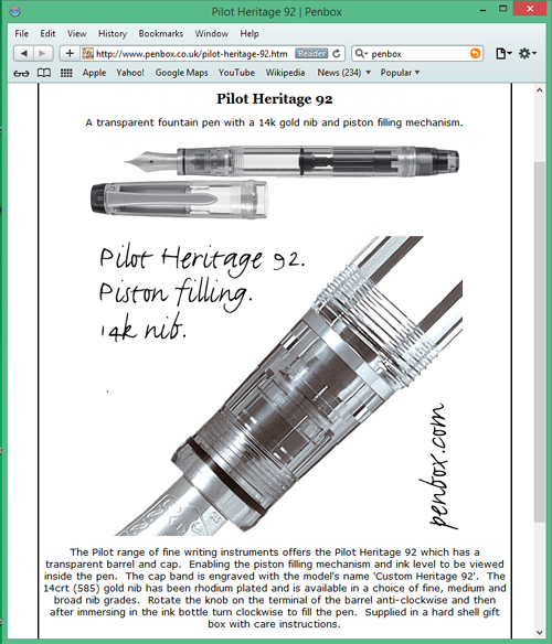 Pilot Heritage 92 fountain pen.