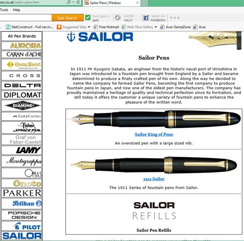 Sailor pens.