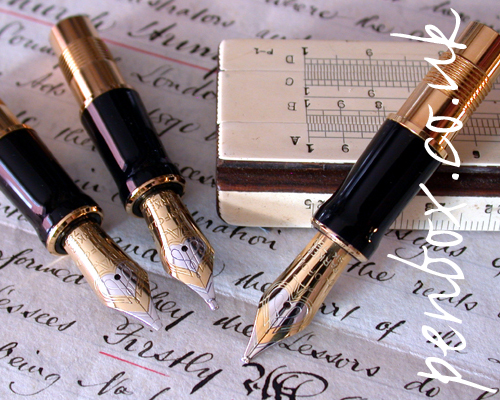 Replacement Parker Duofold Centennial Nibs. Italic, oblique and needlepoint.
