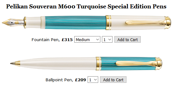 Special edition M600 Pelikan Souveran Turquoise fountain pen.