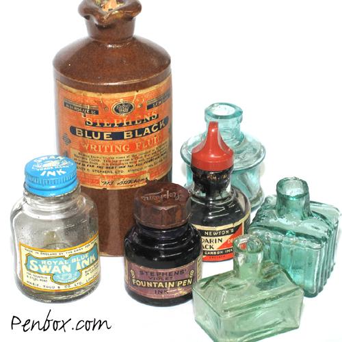 Vintage ink bottles.