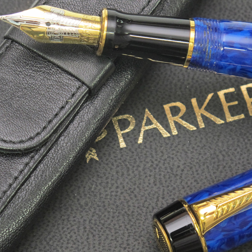 Lapis Lazuli blue Parker Duofold fountain pen.