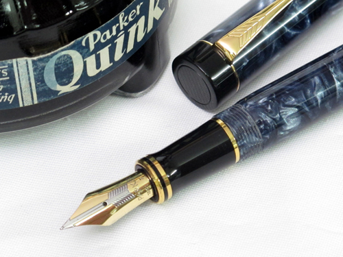 Marbled blue Parker Duofold Centennial fountain pen 1988.